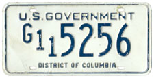 Undated U.S. Government plate no G11 5256