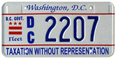 Embossed style D.C. Govt. fleet vehicle plate no. 2207