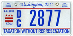 Flat style D.C. Govt. fleet vehicle plate no. 2877