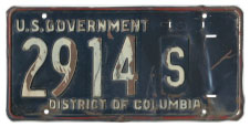 Mid- to late 1950s U.S. Govt. plate no. 2914-S
