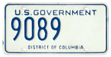 Undated U.S. Govt. plate no. 9089