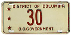 Mid-to-late 1950s D.C. Govt. plate no. 30