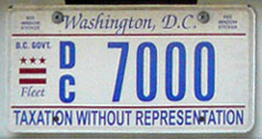 Flat style D.C. Govt. fleet vehicle plate no. 7000