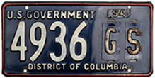 1954 U.S. General Services Administration plate no. 4936-GS