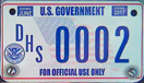 U.S. Dept. of Homeland Security 2009 Motorcycle plate no. DHS 0002