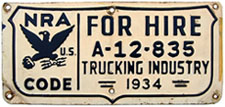 1934 National Recovery Act Trucking Industry permit no. A-12-835