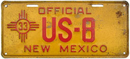1933 New Mexico license plate for a U.S. Government vehicle