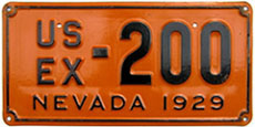 1929 Nevada license plate for a U.S. Government vehicle