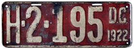 1922 Hire (Taxi) plate no. H-2-195