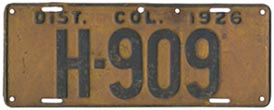 1926 Hire (Taxi) plate no. H-909