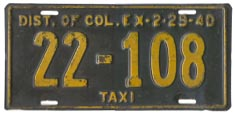 1939 Taxi plate no. 22-108