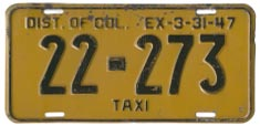 1946 Hire (Taxi) plate no. 22-273