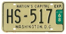 1965 (exp. 3-31-66) Hire (Taxi) plate no. HS-517 validated for 1967 (exp. 3-31-68)