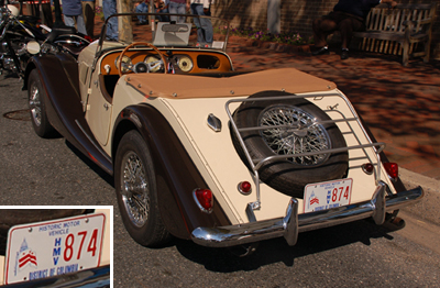 Historic Motor Vehicle plate no. 874 on a 1959 Morgan roadster