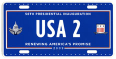 2009 Inaugural plate no. USA 2; click on image to see larger version
