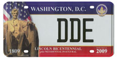 2009 Inaugural plate no. DDE: click to enlarge