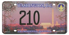 2013 Inaugural plate no. 210; click on image to see larger version