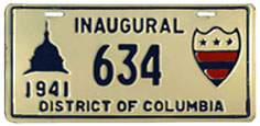 1941 Presidential Inauguration plate no. 634