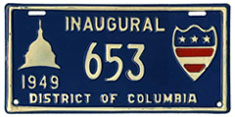 1949 Presidential Inauguration plate no. 653