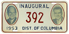 1953 Presidential Inauguration plate no. 392