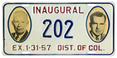 1957 Presidential Inauguration plate no. 202