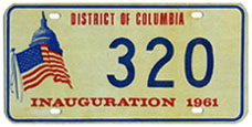 1961 Presidential Inauguration plate no. 320