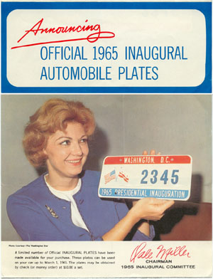1965 Inaugural plate order form