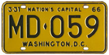 1965 (exp. 3-31-66) Medical Doctor plate no. MD-059