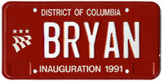 1991 Mayoral Inauguration plate no. BRYAN