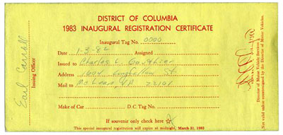 1983 Mayoral Inauguration registration certificate