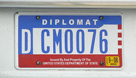 1984 base flat OFM Diplomatic license plate. To which country CM-series numbers are assigned is unknown.