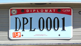 2007 base OFM Diplomatic license plate. PL-series numbers are believed to be assigned to the Chilean embassy.