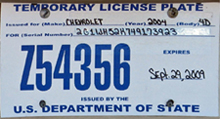2009 OFM temporary license plate