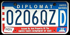 1984 base OFM Diplomat license plate, late embossed style, no. 0206QZD (assigned to the mission of Indonesia)