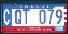 1984 base OFM Consul license plate, early embossed style, no. CQT 079 (assigned to the embassy of New Zealand)