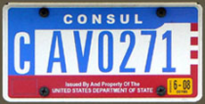 1984 base OFM Consul license plate, flat style, no. CAV0271 (assigned to the embassy of Israel)