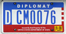 1984 base OFM Diplomat license plate, flat style, no. DCM0076