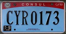 2007 base OFM Consul license plate no. CYR 0173