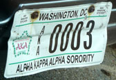 Alpha Kappa Alpha Sorority organizational plate no. AKA 0003