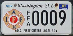 Firefighters Local 36 organizational plate no. FFA 0009