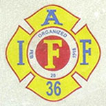 Firefighters plate logo detail