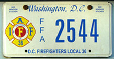 Firefighters Local 36 organizational plate no. FFA 2544