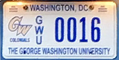 George Washington University organizational plate no. GWU 0016