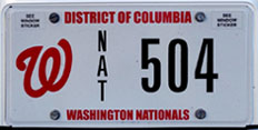 Washington Nationals organizational plate no. NAT 504