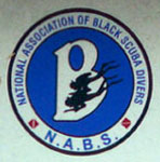 Nat'l Assn. of Black Scuba Divers plate logo detail