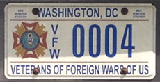Veterans of Foreign Wars organizational plate no. VFW 0004