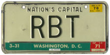 1964 base Personalized plate no. RBT validated through March 1971
