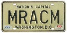 1968 base Personalized plate no. MRACM validated through July 1986