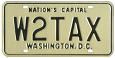 1968 base Personalized plate no. W2TAX