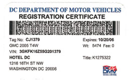 2005 (exp. 10/20/2006) Passenger vehicle registration card